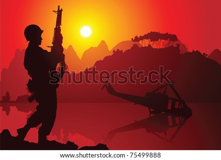 Soldier with crashed helicopter on the background - stock vector
