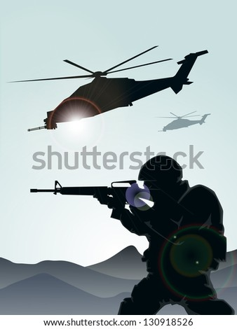 Soldier with helicopters - stock vector