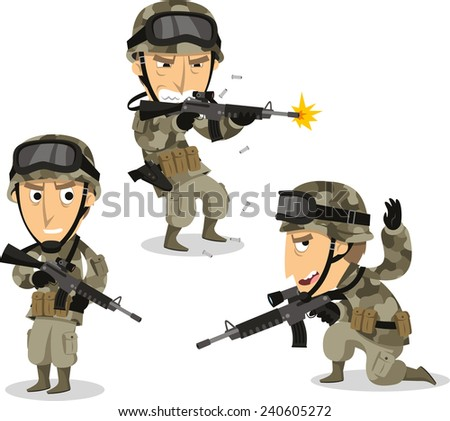 Soldier with machine gun helmet war uniform standing, vector illustration cartoon. - stock vector