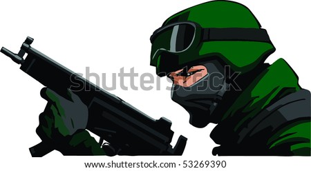 Soldier with submachinegun - stock vector
