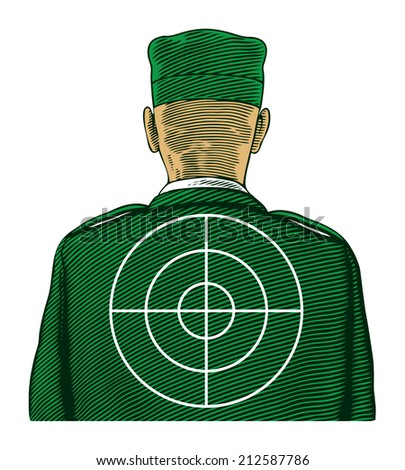 Soldier with target from back or rear view. Vector illustration, isolated, grouped, transparent background - stock vector