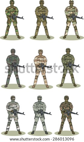 soldiers - stock vector