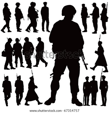 Soldiers and police vector illustration collection. Twenty military people. - stock vector
