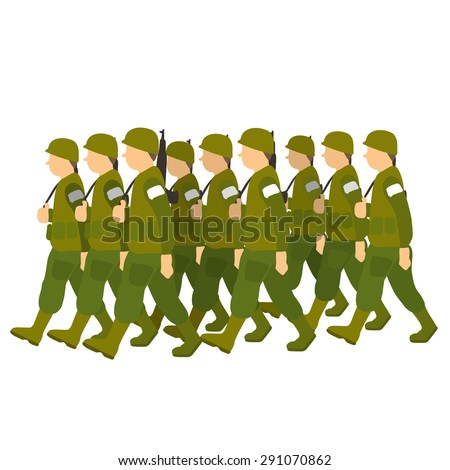 Soldiers in green uniform marching past in military parade. Vector illustration isolated on white background - stock vector