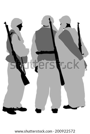 Soldiers in uniform with guns on white background