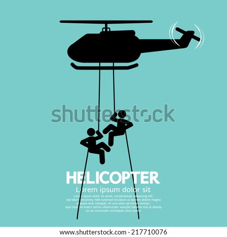 Soldiers Jump From a Helicopter Vector Illustration - stock vector