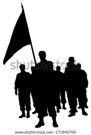 Soldiers people with large flags - stock vector
