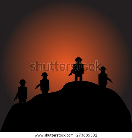Soldiers silhouettes against a sunrise vector image - stock vector