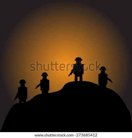 Soldiers silhouettes against a sunset vector image - stock vector