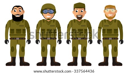 Soldiers squad. Set of military men vector characters
