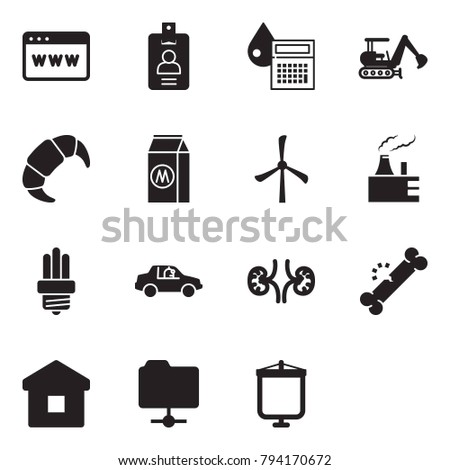 Solid black vector icon set - browser vector, identity, calculator drop, excavator, croissant, milk, windmill, thermal power plant, bulb, unmanned car, kidneys, broken bone, home, network folder
