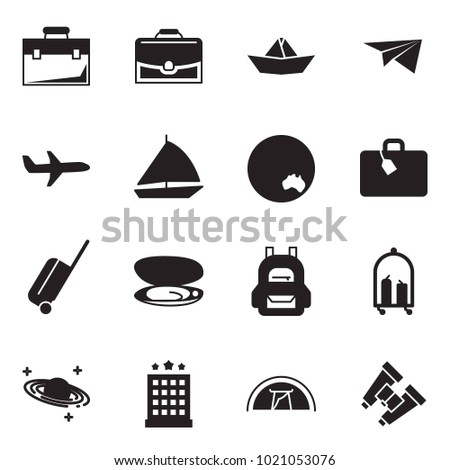 Solid black vector icon set - case vector, paper ship, plane, sail boat, australia, suitcase, wheel, shell, backpack, luggage trolley, saturn, hotel, tent, binoculars
