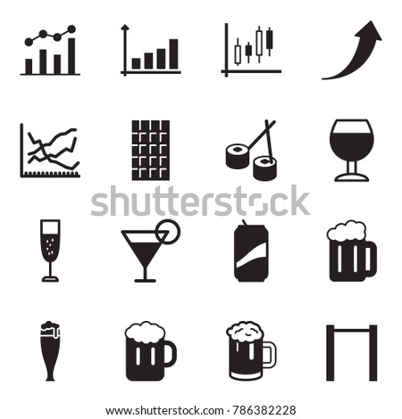 Solid Black Vector Icon Set Chart Stock Vector 786382228 Shutterstock