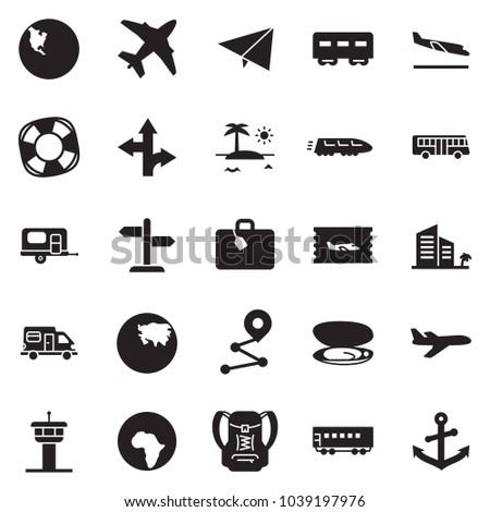 Solid black vector icon set - paper plane vector, passenger wagon, train, bus, camper, camp trailer, africa, north america, asia, signpost, ticket, airport tower, suitcase, lifebuoy, route, shell