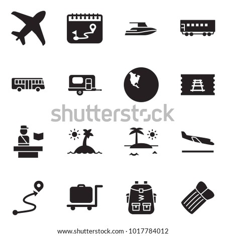 Solid black vector icon set - plane vector, calendar route, yacht, passenger wagon, bus, camp trailer, north america, train ticket, passport control, island, arrival, luggage trolley, bag pack