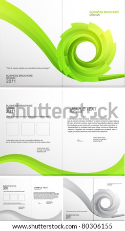 Solid swirl shape. Green eco concept. Vector brochure template - stock vector
