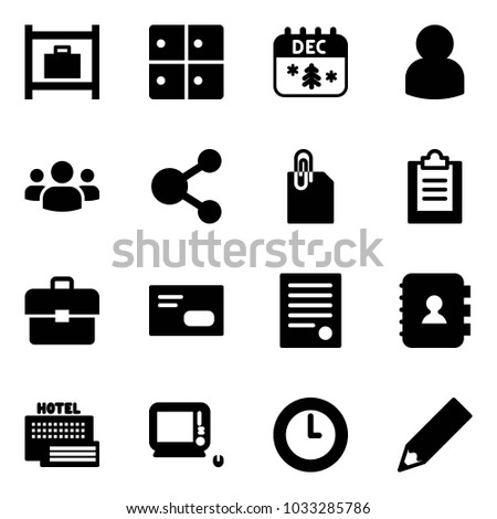 Solid vector icon set - baggage room vector, christmas calendar, user, group, share, attachment, clipboard, portfolio, envelope, agreement, contact book, sea hotel, monoblock pc, clock, pencil