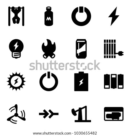 Solid vector icon set - pull ups vector, milk, standby, lightning, idea, fire, drink, sun panel, power, button, battery, wind mill, connect, oil derrick, generator