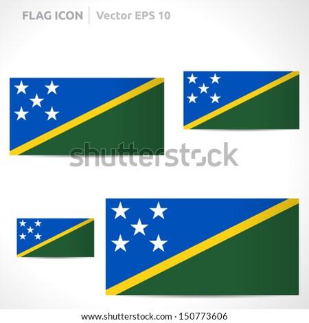 Solomon Islands flag template | vector symbol design | color green white yellow and blue | icon set - stock vector