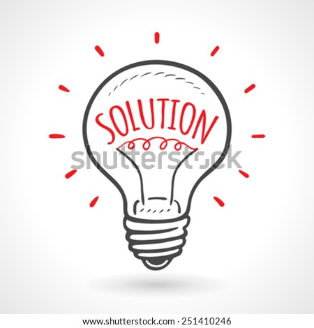 Solution Bulb Hand Drawn Idea Concept Vector - stock vector
