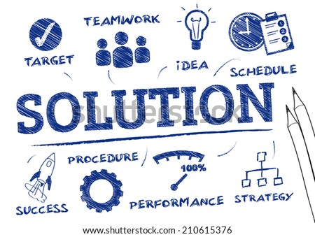 Solution - chart with keywords and icons - stock vector