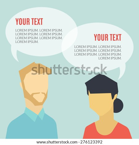 Solution through dialog concept. Two people talking - stock vector