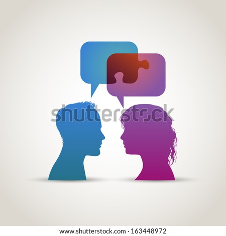 Solution through dialog, eps10 vector - stock vector