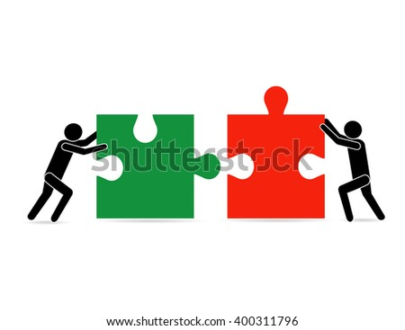 Solution to the problem together. business success concept, People move pieces of jigsaw puzzle for assembling success text cartoon vector illustration - stock vector