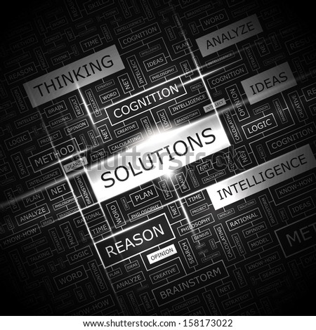 SOLUTIONS. Word cloud illustration. Tag cloud concept collage. Vector text illustration.