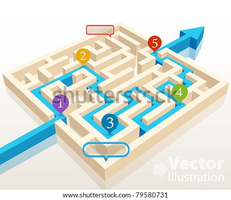 Solved maze with colorful signs. Vector illustration. - stock vector