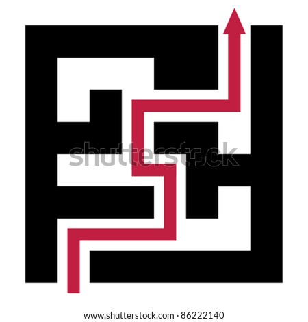 Solving problems - solution concept with maze - stock vector