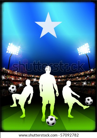 Somalia Flag with Soccer Player on Stadium Background Original Illustration - stock vector