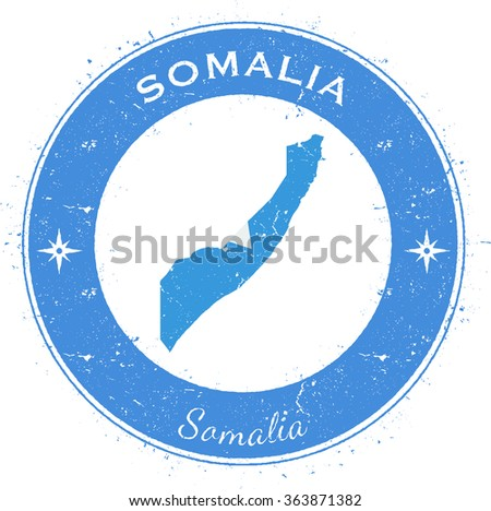 Somalia. Grunge rubber stamp with country flag, map and the Somalia written along circle border, vector illustration - stock vector