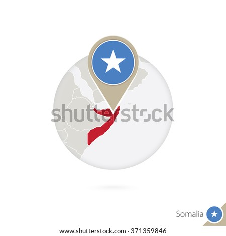 Somalia map and flag in circle. Map of Somalia, Somalia flag pin. Map of Somalia in the style of the globe. Vector Illustration. - stock vector
