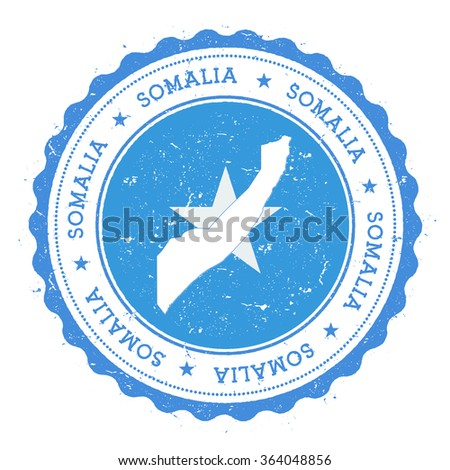 Somalia map and flag in vintage rubber stamp of country colours. Grungy travel stamp with map and flag of Somalia, vector illustration - stock vector