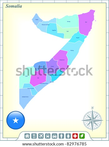 Somalia Map with Flag Buttons and Assistance & Activates Icons Original Illustration - stock vector