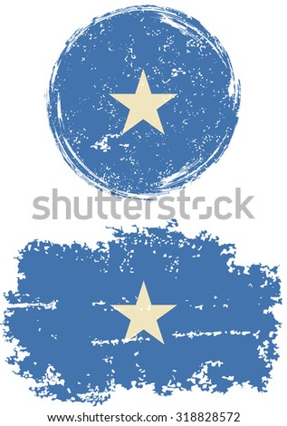Somalia round and square grunge flags. Vector illustration. Grunge effect can be cleaned easily.  - stock vector