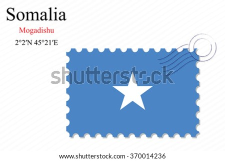 somalia stamp design over stripy background, abstract vector art illustration, image contains transparency - stock vector