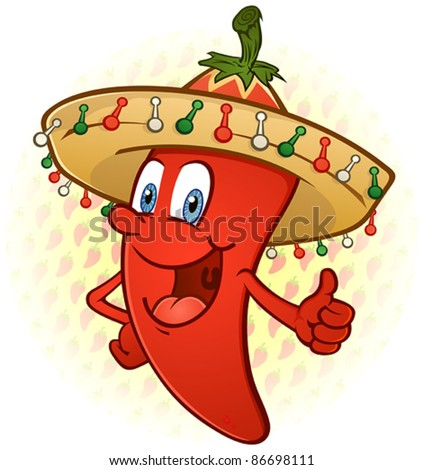 Sombrero Hot Chili Pepper Thumbs Up Cartoon Character - stock vector