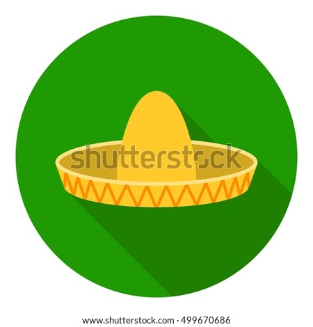 Sombrero icon in flat style isolated on white background. Hats symbol stock vector illustration.