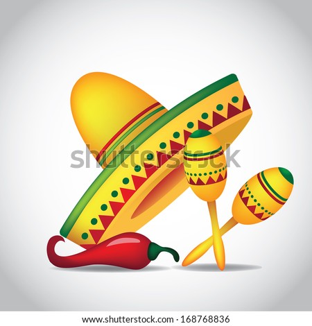Sombrero, maracas and jalapeno. EPS 10 vector, grouped for easy editing. No open shapes or paths. - stock vector
