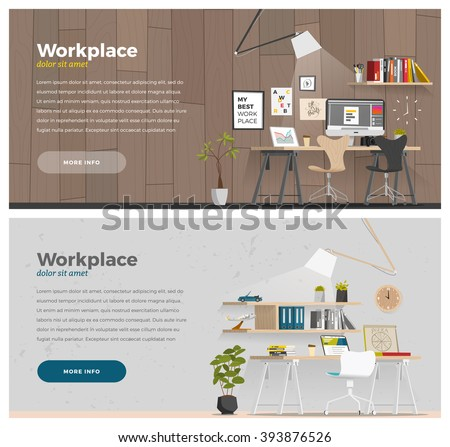 Some business office style in cartoon flat style. Horizontal banner - stock vector