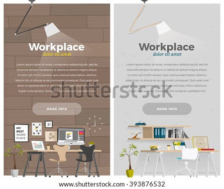 Some business office style in cartoon flat style. Vertical banner - stock vector
