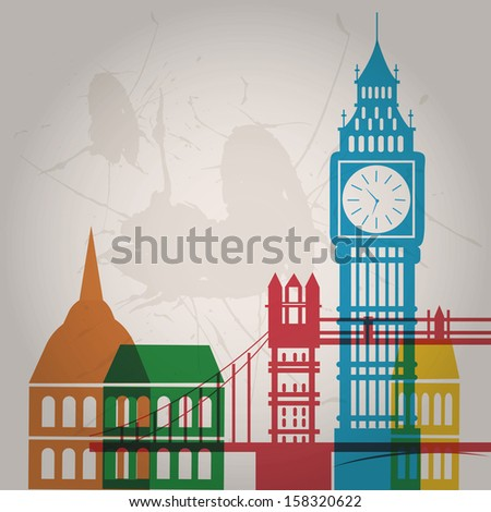 some colored silhouettes of the buildings from london - stock vector