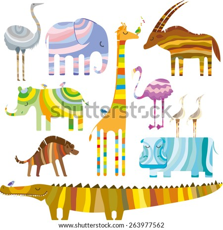 Some colourful african animals in dreamtime on a white background - stock vector