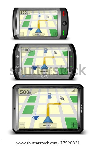 Some devices with GPS module. Vector illustration