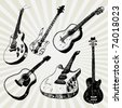 Some Doodled Guitars - stock vector