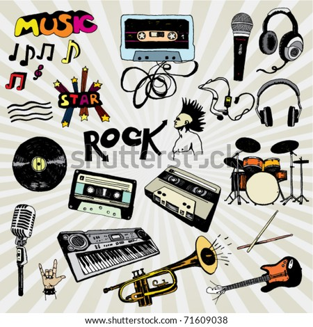 Some Doodled Music Elements Colorful - stock vector