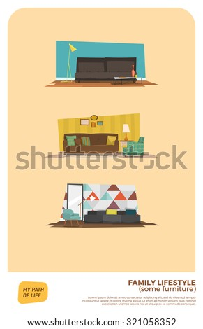 Some furniture set - stock vector