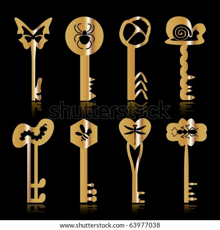 Some gold keys with silhouettes of insects on a black background